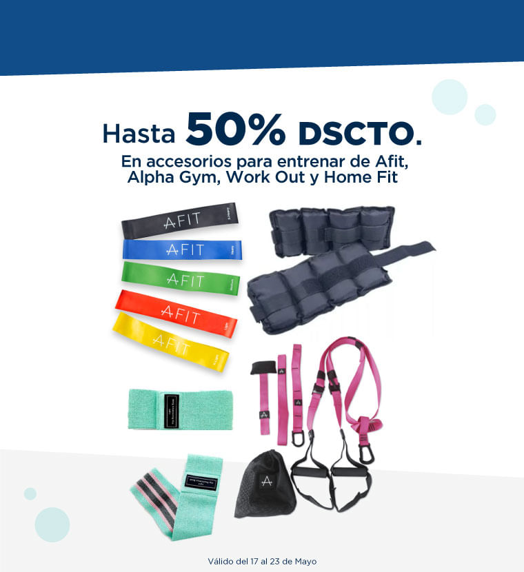 Hasta 50% de descuento en accesorios para entrar de Afit, Alpha Gym, Work Out y Home Fit
