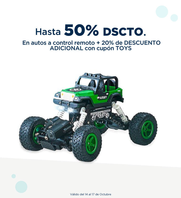 Hasta 50% de descuento en Autos a control remoto mas 20% adicional con el cupon TOYS