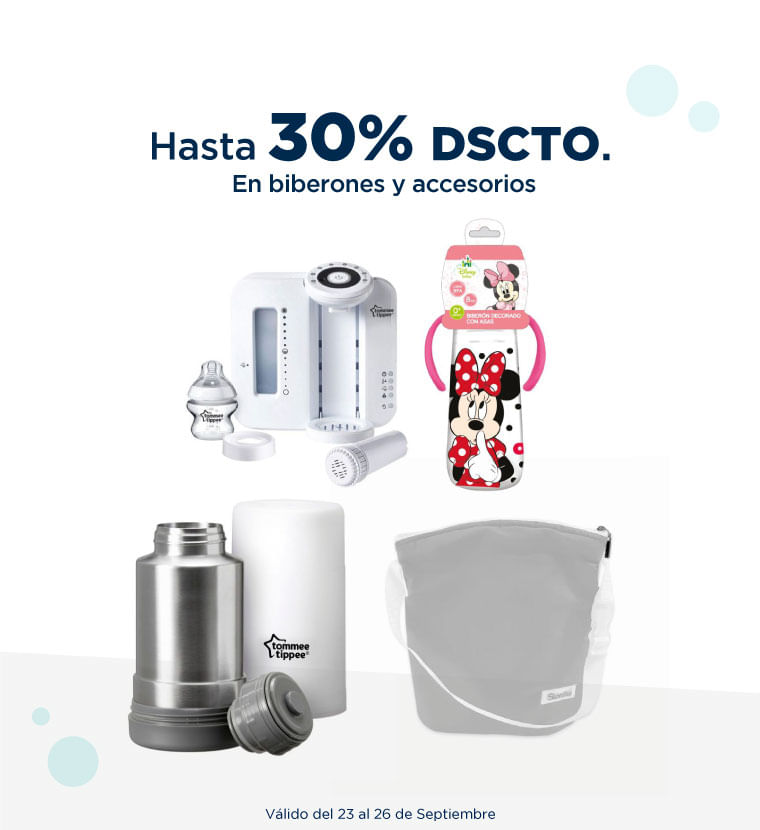 Hasta 30% de descuento en Biberones y accesorios