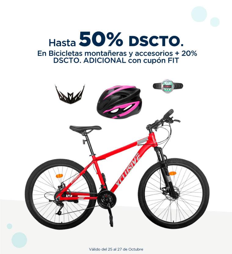 Hasta 50% de descuento en Bicicletas montañeras y accesorios más 20% descuento adicional con el cupón FIT