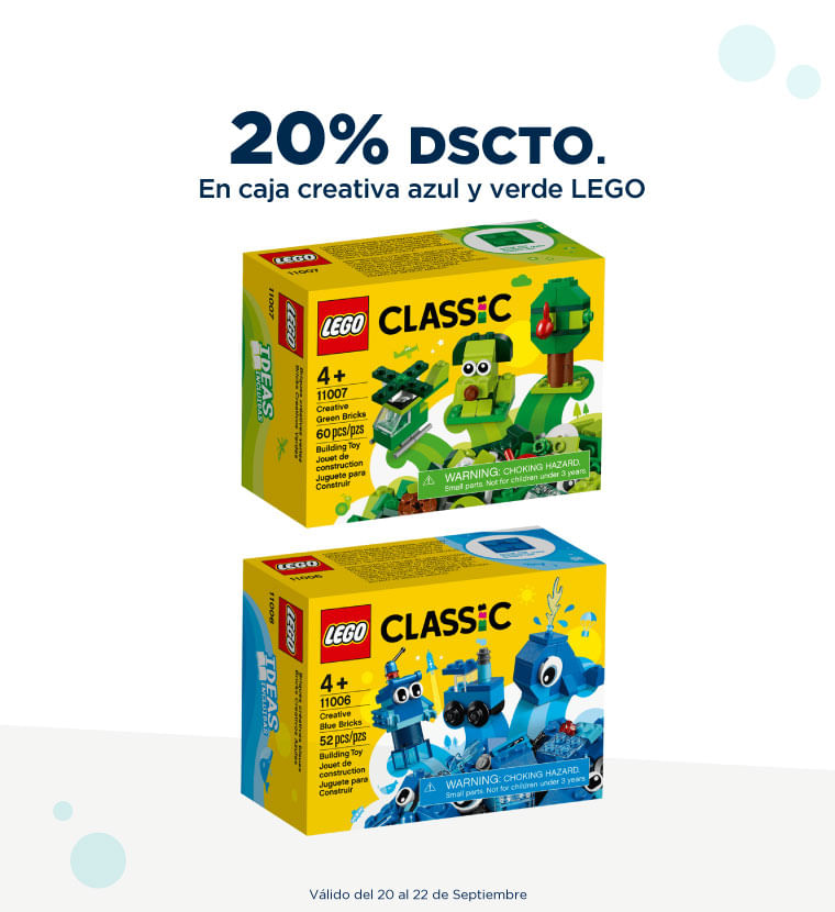20% de descuento en Caja creativa azul y verde Lego