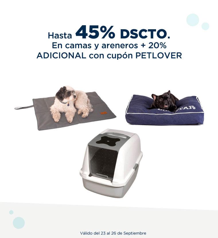 Hasta 45% de descuento en Camas y areneros + 20% adicional con cupon PETLOVER