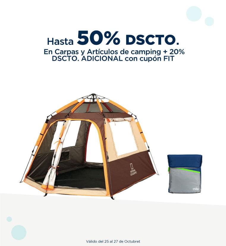 Hasta 50% de descuento en carpas y artículos de camping más 20% de descuento adicional con el cupón FIT