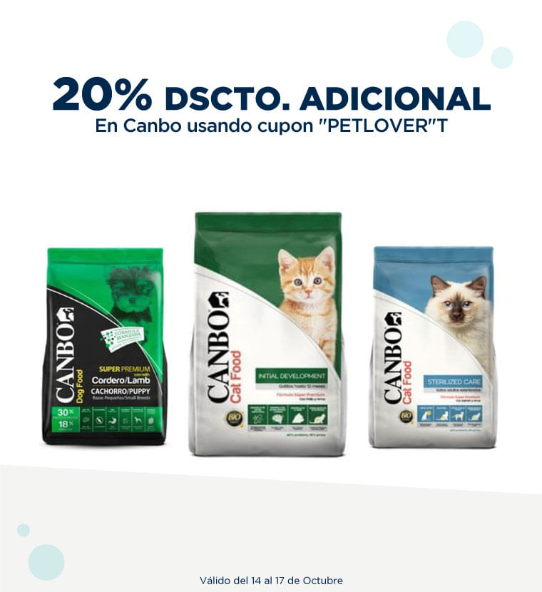 20% de descuento adicional en Canbo usando cupon PETLOVER