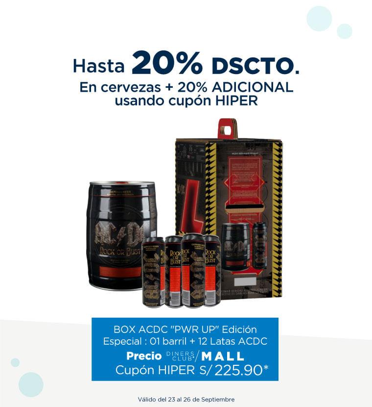 Hasta 20% de descuento en Cervezas + 20% adicional usando cupon HIPER