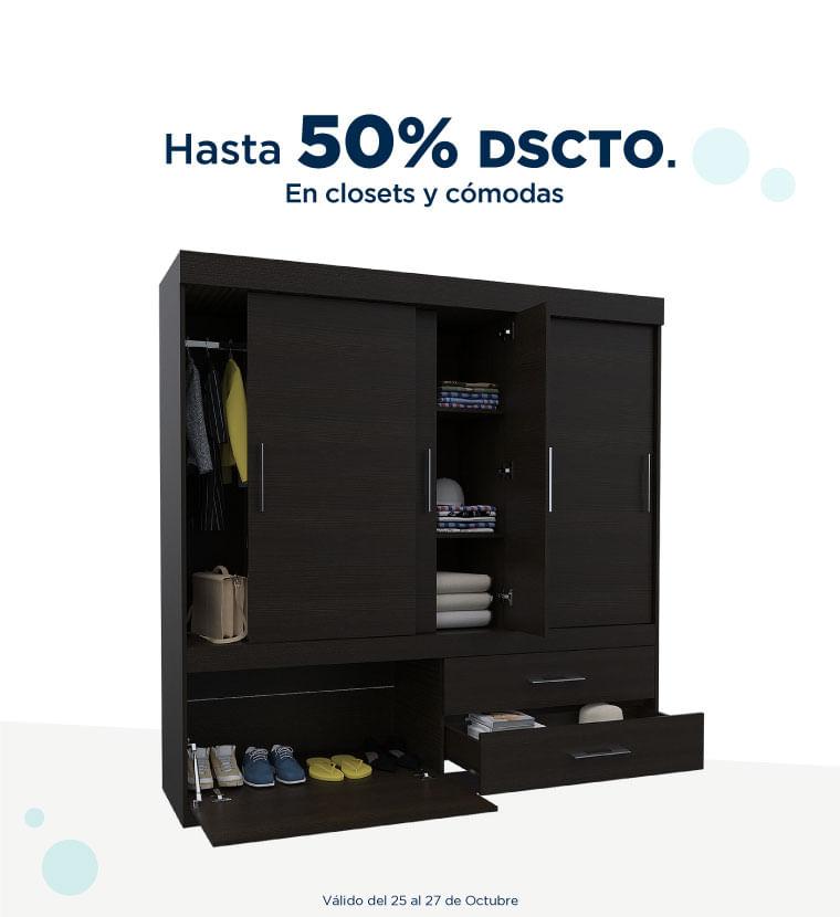 Hasta 50% de descuento en closets y cómodas