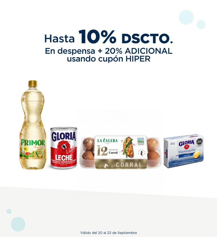 Hasta 10% de descuento en Despensa + 20% adicional usando cupon HIPER
