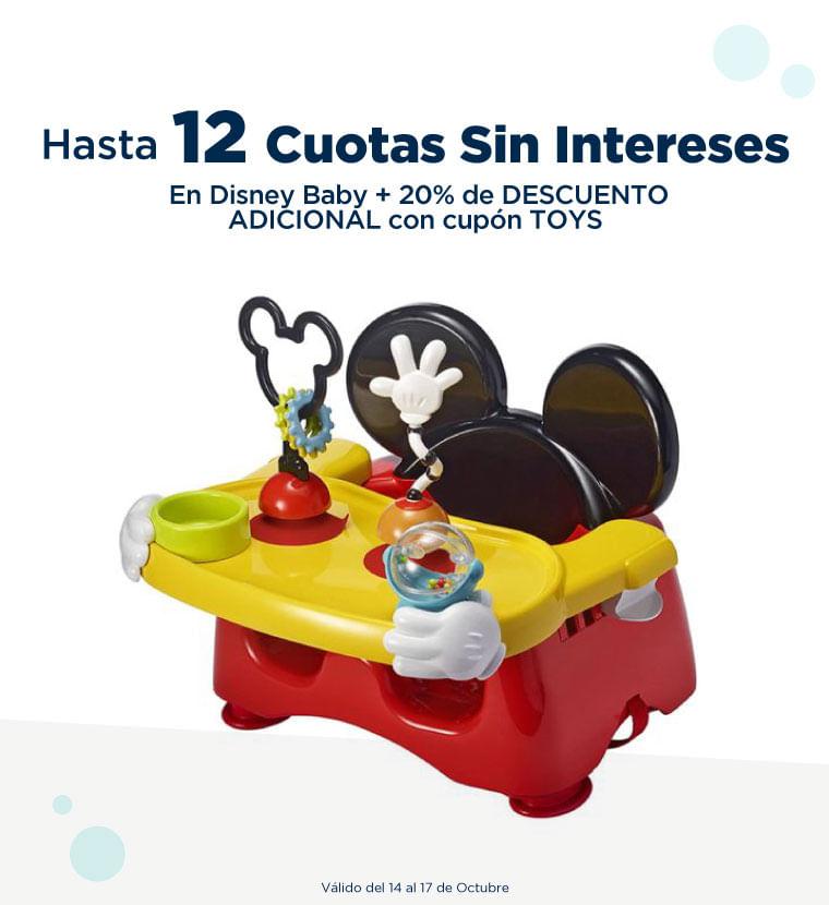 Hasta 12 cuotas sin intereses en Disney baby mas 20% adicional con el cupon TOYS
