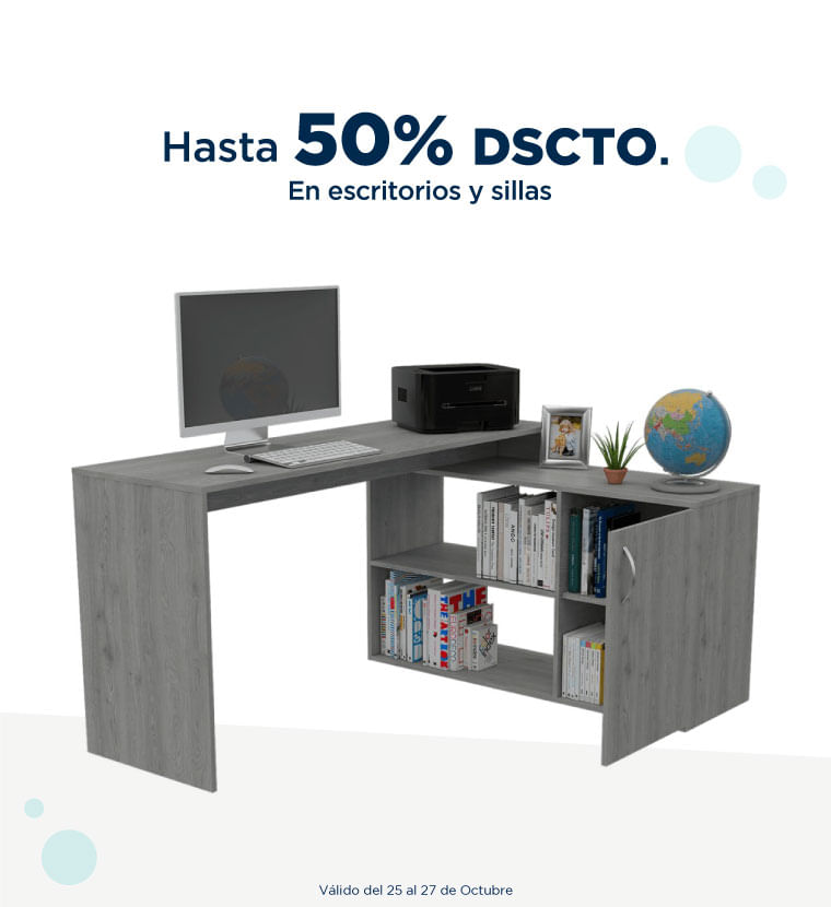 Hasta 50% de descuento en escritorios y sillas