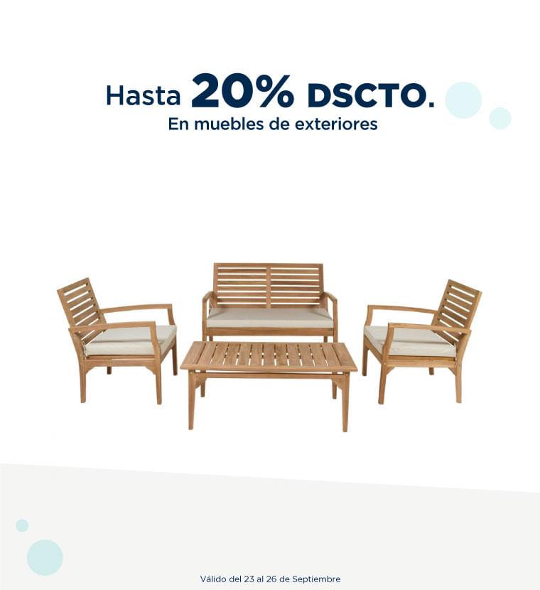 Hasta 20% de descuento en Muebles de exteriores