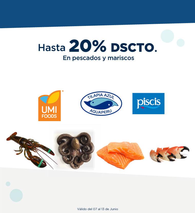 Hasta 20% de descuento en Pescados y Mariscos
