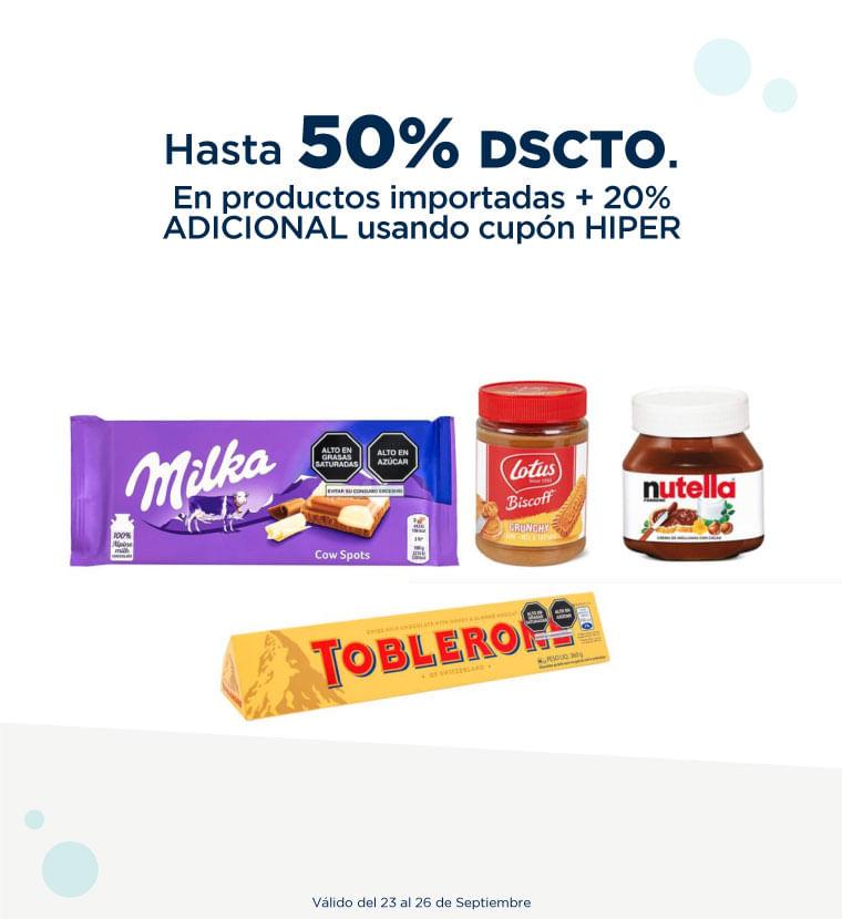 Hasta 50% de descuento en Productos importados + 20% adicional usando cupon HIPER