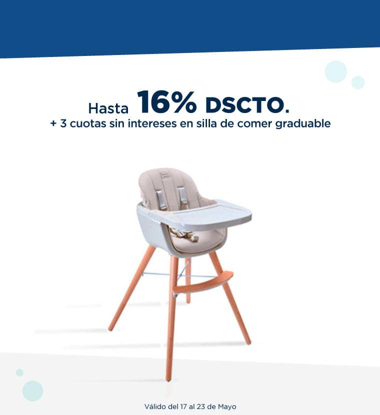 Hasta 16% + 3 cuotas sin interésen silla de comer graduable