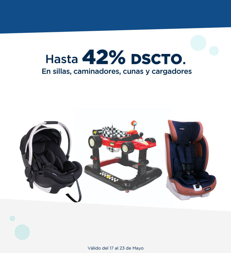 Hasta 42% de descuento en Sillas, caminadores, cunas y cargadores