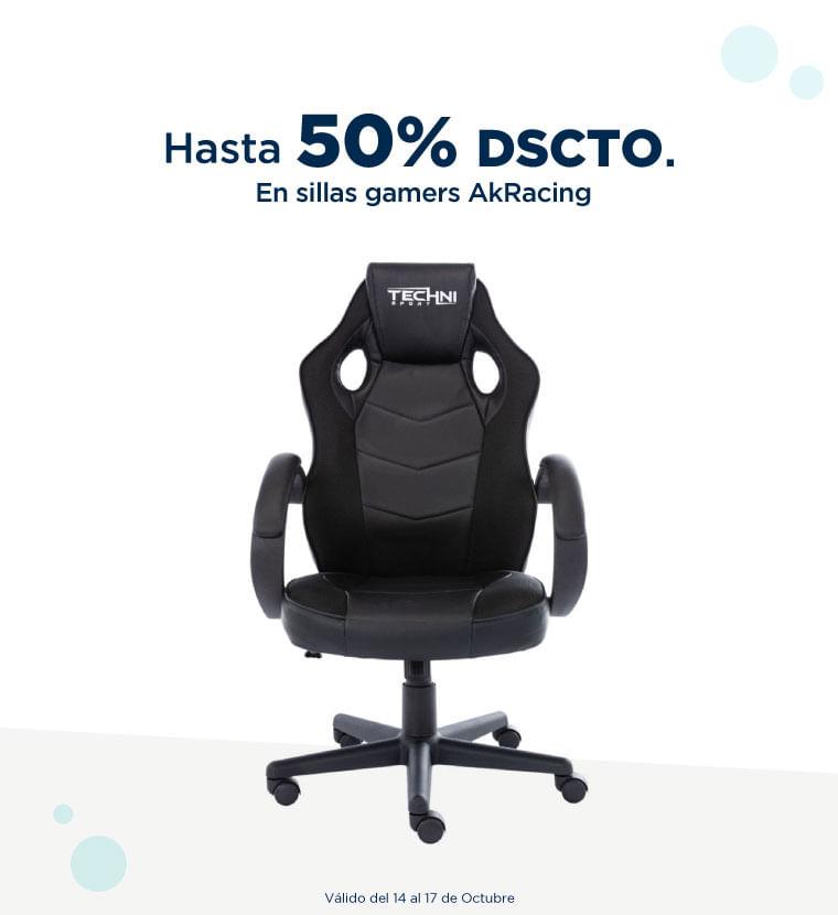 Hasta 50% de descuento en Sillas gamers AkRacing