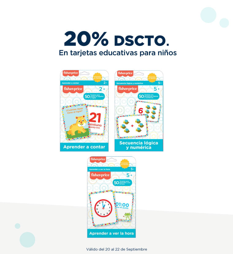 20% de descuento en Tarjetas educativas para niños
