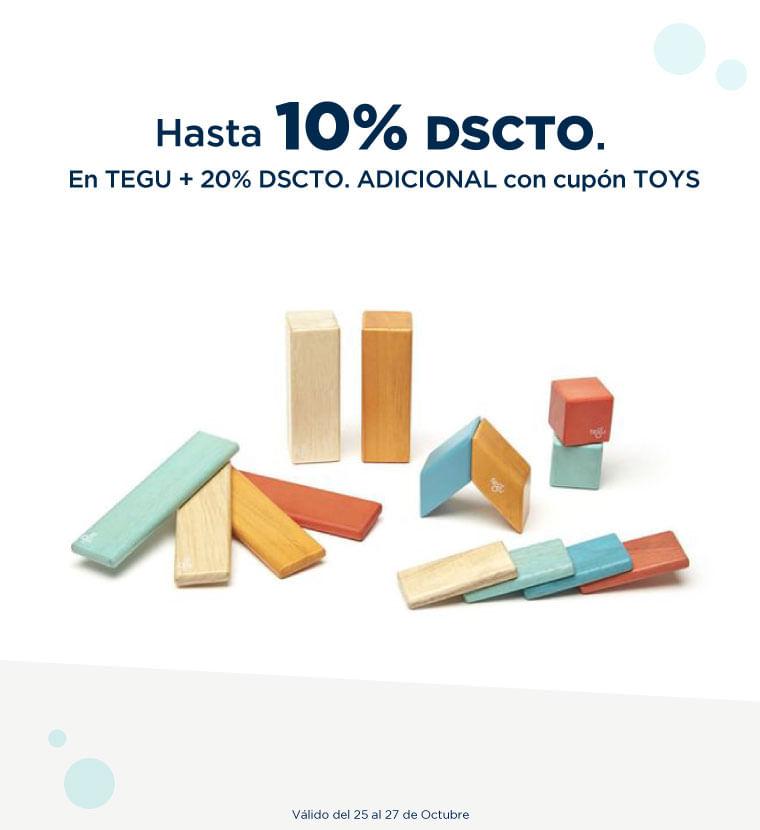 Hasta 10% de dcto en tegu más 20% de descuento ADICIONAL usando cupón TOYS