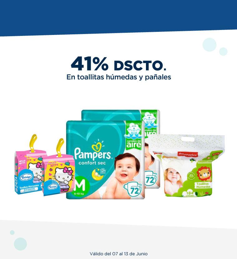 41% de DSCTO en toallitas húmedas y pañales
