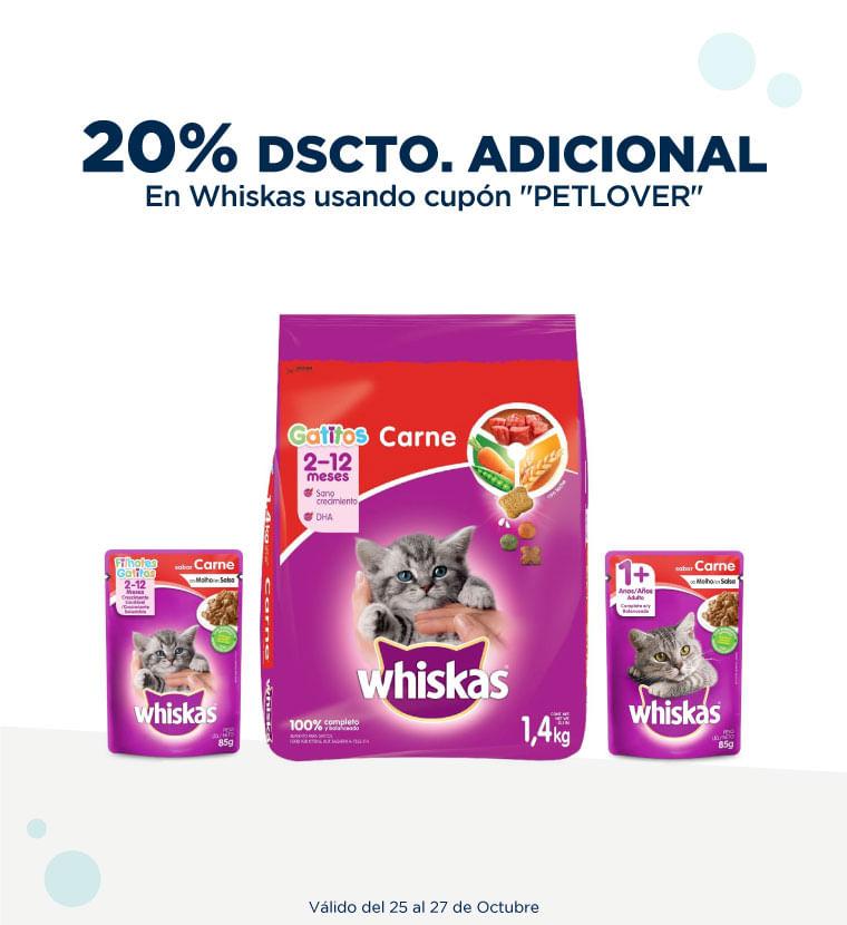 20% de descuento adicional en Whiskas usando cupón PETLOVER